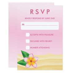 #wedding #responsecards - #Pink Tropical Frangipani RSVP Wedding Response Card