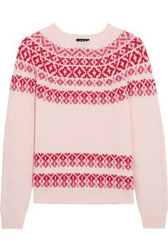 Cream, pink and red wool and cotton-blend Slips on 52% wool, 48% cotton Dry clean Made in Italy