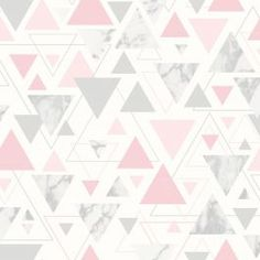 This Chantilly Geometric Marble Wallpaper features a geometric pattern of matte pink, metallic silver and marble patterned triangles on a matte white background Silver Marble Wallpaper, Wallpaper Pink And White, Pink Marble Background, Marble Wallpaper Phone, Metallic Wallpaper, Wall Wallpaper, Pattern Wallpaper, Marble Wallpapers, Geometric Triangle Wallpaper