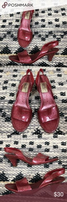 57e822208f5709 Marc Jacobs Red Silver Glitter Jelly Sandals Heels Marc Jacobs Red Silver  Glitter Jelly Sandals Heels