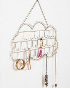 Plum & Bow Hanging Cloud Jewelry Stand- This is so adorable! I wish I had this hanging in my room! Jewellery Storage, Jewellery Display, Jewelry Organization, Jewellery Diy, Organization Ideas, Storage Ideas, Jewelry Stand, Jewelry Holder, Jewelry Box
