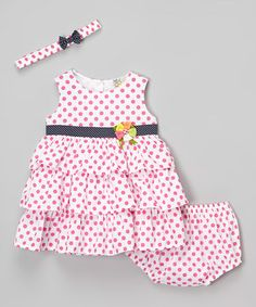 Another great find on #zulily! White & Pink Polka Dot Ruffle Dress Set - Infant #zulilyfinds