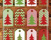 Printable Christmas Gift Tags in Aqua Blue, Turquoise and Green Chevron & Christmas Tree. Geometric Style. DIY Hang Tags.Letter JPG, PDF.. $3.00, via Etsy.