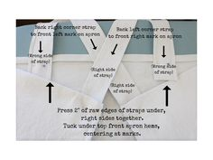 Cross back linen apron - step 4 - attach front straps to front of apron - label