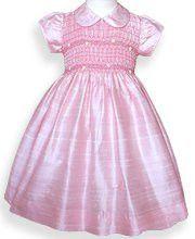 Shiloh Pink Flower Girls Silk Dress with Smocked Bodice