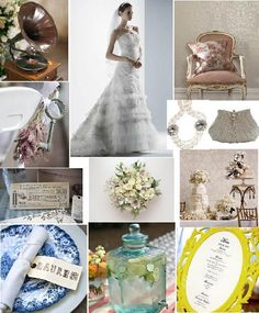 Vintage wedding theme with old blue china
