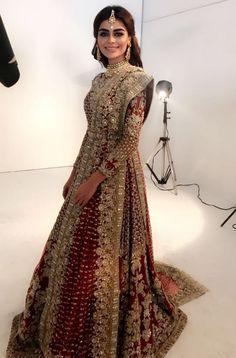 Sadaf kanwal wearing HeavyPakistani bridal wear