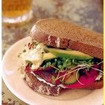 Herbed  Basil Mayonaise, used as sandwich spread or frizzed over sliced tomatoes and crisp greens. Sara Foster