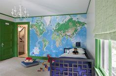 Nina Farmer Interiors | map wallpaper kids room green painted color trim doors & moulding roman shade