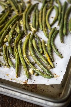 Fresh green beans are oven-roasted with olive oil, lemon, garlic, and capers. Fancy enough for a holiday meal, easy enough for a weeknight side dish!