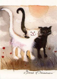 """Kaverukset"" - Minna Immonen (Finland) via Alisa Hamu I Love Cats, Crazy Cats, Cool Cats, Splat Le Chat, Image Chat, White Cats, Black Cats, Cat Drawing, Whimsical Art"