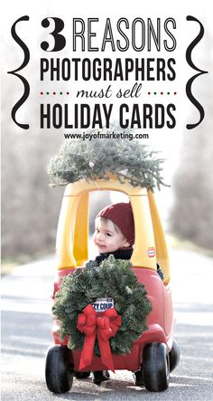 One of the best marketing ideas for photographers: Sell Holiday Cards. Here are 3 reasons how selling holiday cards will help you get more clients. http://www.joyofmarketing.com/blog/3-reasons-offer-holiday-cards-to-every-client/ http://www.healthydinneroptions.com/