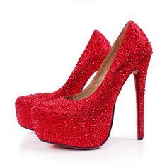 cc6ea5d059f Aliexpress.com   Buy Free shipping Women s sweet crystal platform pumps  ultra high heels red