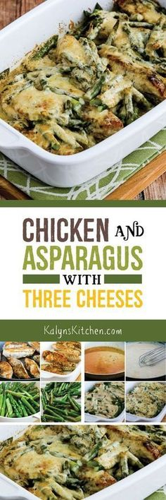 Chicken and Asparagus with Three Cheeses is an ultra-easy low-carb casserole that will make you think about spring! This delicious chicken and asparagus combination is also Keto low-glycemic gluten-free and it can easily be South Beach Diet friendly. Ketogenic Recipes, Paleo Recipes, Low Carb Recipes, Cooking Recipes, Easy Recipes, Easy Cooking, Lunch Recipes, Cooking Food, Recipes Dinner