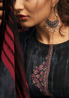 Varsha Fashion Posh Pashmina Printed and Embroidery Suits 008 Embroidery Suits Punjabi, Hand Embroidery Dress, Embroidery On Kurtis, Kurti Embroidery Design, Embroidery On Clothes, Hand Embroidery Designs, Collar Kurti Design, Saree Blouse Neck Designs, Kurta Neck Design