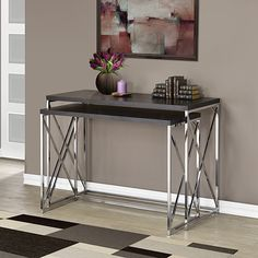 Cappuccino Hollow-Core/Chrome Metal 2 Piece Console Table Set