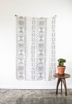African Mud Cloth Mudcloth  Black and White Ivory Cream Block Print Textile Geometric Uses:Blanket, Throw, Wall hanging, Fabric, Textile art