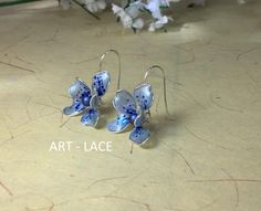 Excited to share the latest #spring addition to my #etsy shop: #SkyBlue flower earrings for women #Orchid earring #Bridal flower #stud gift for girlfriend cute #Bridesmaid earring flower drop resin wire#weddings #jewelry #blue #silver