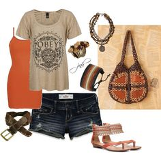 Orange and Brown, created by jill-hammel on Polyvore