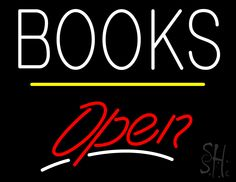 Books Open Yellow Line Neon Sign 24 Tall x 31 Wide x 3 Deep, is 100% Handcrafted with Real Glass Tube Neon Sign. !!! Made in USA !!!  Colors on the sign are White, Red and Yellow. Books Open Yellow Line Neon Sign is high impact, eye catching, real glass tube neon sign. This characteristic glow can attract customers like nothing else, virtually burning your identity into the minds of potential and future customers.
