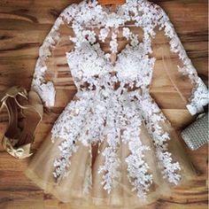 Floral Lace Long Sleeve Mini Dress   Daisy Dress for Less   Women's Dresses & Accessories