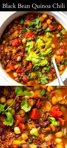Protein-packed black bean quinoa chili. It has the perfect blend of veggies, beans, and smoky flavor without any meat. Quinoa Chili, Veggie Chili, Healthy Cooking, Cooking Recipes, Veggie Soup Recipes, Vegetarian Stew, Black Bean Quinoa, Good Food, Yummy Food