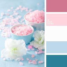 Color Palette (Color Palette Ideas) Light blue, light pink, and white for Auroras classic sleeping beauty castle room update Color Schemes Colour Palettes, Blue Colour Palette, Color Combos, Summer Color Palettes, Pastel Palette, Spring Colors, Pantone, Color Balance, Colour Board