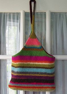Hand Knit Then Felted Carry All Tote  Random by PippsPurses, $65.00
