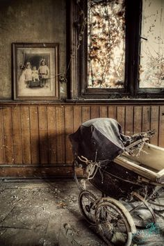 Abandoned manor house, England.  This place has been abandoned for decades and is so beautifully intact. It's like someone just walked out and never came back…  p.s. Unfortunate for the dead bird stuck in the pram :/