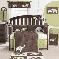 habitación bebé chocolate verde