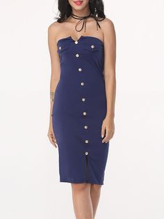 #Fashionmia - #Fashionmia Plain Split Decorative Buttons Sexy Tube Bodycon-dress - AdoreWe.com