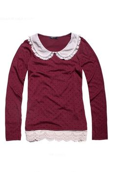 Preppy Peter Pan Collar Lacy T-shirt with Dots Embellished - Oasap High Street Fashion
