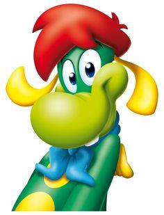 Prezzemolo the dragon. mascotte of the theme park Gardaland in Italy