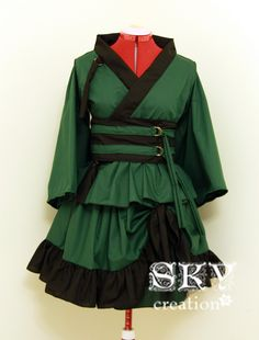 Forest Green X Black Kimono Dress Set with Ruffles by skycreation, $85.00