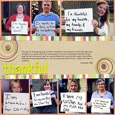 Photo Message Thanksgiving Scrapbook Page