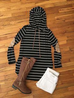 Black Striped Hooded Tunic-PLUS