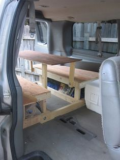 From a Chevy Express to a DIY Customized Camper Van: Building the Bed and Table Mehr Mini Camper, Camper Life, Truck Camper, Rv Campers, Camper Van, Truck Bed, Camper Trailers, Chevy Express, Kangoo Camper