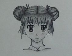 manga girl, front view, graphite and drawing pen