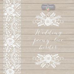 ❤ Wedding peony lace border, Wedding invitation border, frame, lace clipart, white lace wedding invitation, shabby chic clipart, vintage lace    ❤