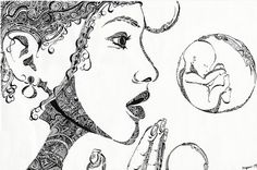 """Art:  """"Baby Bubbles"""" - drawing by Anne Marie Ryan - """"My grandma said to wish on bubbles--bubbles are kind of like wishes, really. Very easily burst. But sometimes you just have to let go."""""""