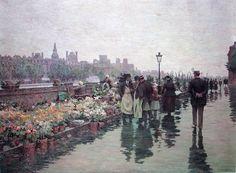 Luther Emerson Van Gorder. Quai aux fleurs, Paris. Óleo sobre tela. 91,4 x 122 cms. 1896