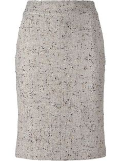 Shop Chanel Vintage bouclé pencil skirt