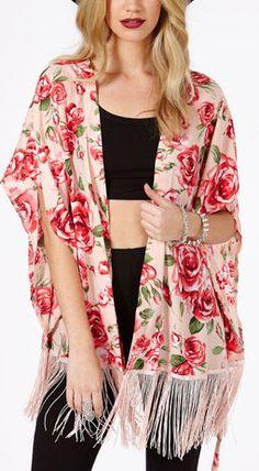 Pink Short Sleeve Florals Print Tassel Hem Kimono. Kind of a hippish look, but I like it.