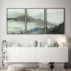 Set of 3 Forest Prints Foggy Mountain Print Large Wall Art Scandinavian Decor Nordic Print Landscape Nature Photography Printable Poster Watercolor Walls, Green Watercolor, Watercolors, Wall Art Sets, Large Wall Art, Three Piece Wall Art, Foggy Forest, Mountain Art, Mountain Range