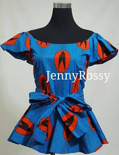Stylish African print ruffle Ankara peplum Top with sash African Clothing front self tie top African American Fashion, African Print Fashion, Africa Fashion, African Fashion Dresses, African Attire, African Wear, African Dress, African Prints, African Style
