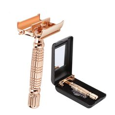 Double Edge Blades Razor Safety Alloy Razor Manual Shaving DE Razors Rose Gold Chrome Plating Shaver With Travel Package