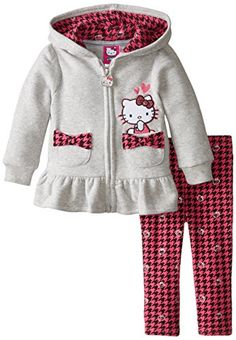 Hello Kitty Baby Girls Houndstooth Legging with Fleece Hoodie Heather Gray 18 Months >>> See this great product.
