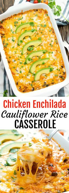 Chicken Enchilada RIce Casserole. A lightened up version of enchilada rice casserole, replacing rice with cauliflower rice. This easy dish is ready in less than an hour! Riced Cauliflower Casserole, Riced Califlower Recipes, Cauliflower Mexican Rice, Making Cauliflower Rice, Low Carb Chicken Casserole, Califlower Rice, Best Cauliflower Rice Recipe, Mexican Chicken, Paleo Casserole Recipes