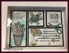 Stamp It with Katie: Framed Crafty Art! Collage Frames, Paper Frames, 3d Frames, White Frames, Collages, Shadow Box Art, Shadow Box Frames, Box Frame Art, Wedding Collage