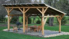 outdoor shelter ideas | Timber Frame Pergolas, Timber Frame Porches & Pavilions, Custom Timber ...